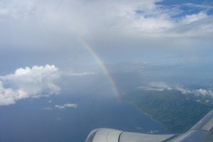 Flights to Gorontalo pass rainbows